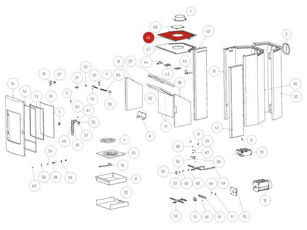 Rika Tema Deckel für Steinverkleidung | B16348 | Splitzeichnung Nr. 46