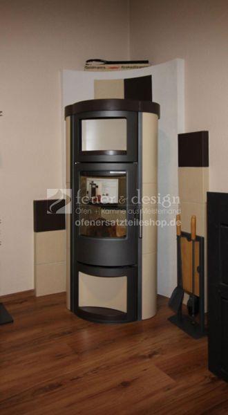 MEZ Kaminofen Turin | Modern | Stahl Grau | Keramik weissbeige und dunkelbraun