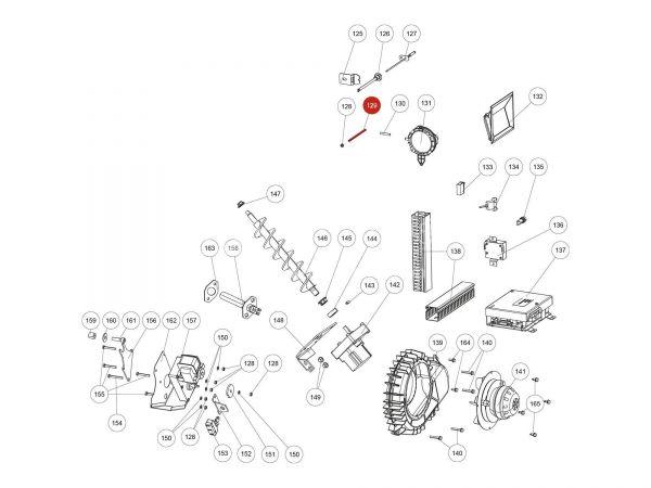 Druckrohr Position im Brennraum ab Seriennr. 1366536 zu Rika Domo | B18126 | Splitzeichnung Nr. 129